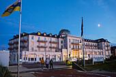 Spa Hotel at dusk, Juist Island, Nationalpark, North Sea, East Frisian Islands, East Frisia, Lower Saxony, Germany, Europe
