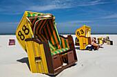 Beach chairs, Juist Island, North Sea, East Frisian Islands, East Frisia, Lower Saxony, Germany, Europe