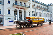 Spa Hotel, horse and cart, Juist Island, Nationalpark, North Sea, East Frisian Islands, East Frisia, Lower Saxony, Germany, Europe