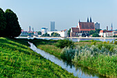 View across the river Oder to Frankfurt/Oder, Brandenburg, Germany