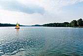 Sailing boat on lake Maschsee, Hannover, Lower Saxony, Germany