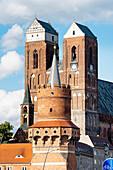 View of four towers, Mitteltorturm gate tower, Holy Spirit church - St. Mary's church, Prenzlau, Uckermark, Brandenburg, Germany