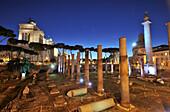 Trajans Forum with Trajan's column, Colonna di Traiano and SS. Nome di Maria, Rome, Italy