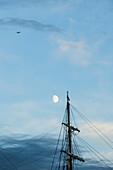 Moon above a sailship mast, Hamburg, Germany