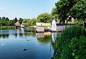 Boathouses at lake Krakow, Krakow am See, Mecklenburg-Western Pomerania, Germany