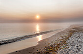 Beach at Kuehlungsborn West at sunrise, Seaside resort of Kuehlungsborn, Mecklenburg-Western Pomerania, Germany