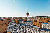 Rescue tower on the beach, Travemuende, Luebeck, Schleswig-Holstein, Germany