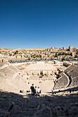 View over Roman Amphitheatre to Citadel Hill, Amman, Jordan, Middle East