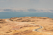 Highway 65 (Dead Sea Highway), Dead Sea and Israel coast in background, Jordan, Middle East