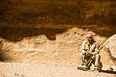 Worker having a break, Petra, Jordan, Middle East