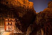 Al Khazneh in candlelight, Petra, Jordan, Middle East