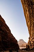 Rock face, Wadi Rum, Jordan, Middle East