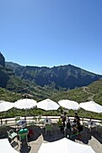 Cafe terrace with views to Masca Valley (Valle de Masca), Tenerife.