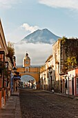 santa catalina arc and volcano of water in antigua. guatemala