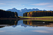 View over lake Forggensee to the Allgaeu Alps, Tannheim mountains, Allgaeu, Bavaria, Germany