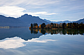 View over lake Forggensee to the Allgaeu Alps, Saeuling and Tannheim mountains, Allgaeu, Bavaria, Germany