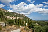 View to the mountain village of Lakones, above Paleokastritsa, Corfu island, Ionian islands, Greece