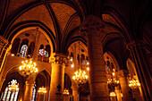 Beleuchtete Innenansicht von Notre Dame, Paris, Frankreich, Europa