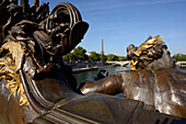 Pont Alexandre, Eiffel tower in the background, Paris, France, Europe