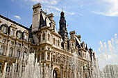 Town hall with fountains, Hotel de Ville, Paris, France, Europe