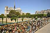 Love padlocks on bridge Pont de L'Archeveche in front of cathedral Notre Dame, Paris, France, Europe