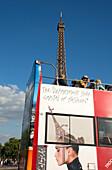 Sightseeing Bus near the Eiffel tower, Paris, France, Europe