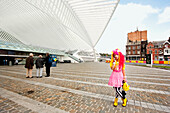Manga girl phoning, Liege-Guillemins railway station, Liege, Wallonia, Belgium