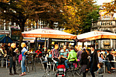 Cafe in Place du Marchee, Liege, Wallonia, Belgium