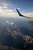 Wetterstein range with Zugspitze seen from an airplane (Air Dolomiti), Upper Bavaria, Bavaria, Germany