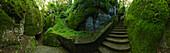 Sasso spicco, Steps to grotto with bed from St. Francis, La Verna, Franciscan monastary, Monte Penna, St. Francis of Assisi, Via Francigena di San Francesco, St. Francis Way, near Chiusi della Verna, province of Arezzo, Tuscany, Italy, Europa