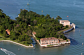Aerial view of islands in the Venetian lagoon, fortification of San Andrea next to the islands of Le Vignole and La Certosa, Veneto, Italy