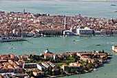Aerial view of islands in the Venetian lagoon, Giudecca and San Marco, Veneto, Italy