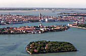 Aerial view of islands in the Venetian lagoon, Giudecca and La Grazia, Veneto, Italy