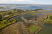 Aerial view of Venice, Torcello, oldest continuously populated region of Venice, Salt meadows, Barene, Torcello, Veneto, Italy