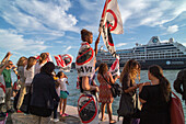 Cruise ship protest, demonstrators at Zaterre quayside protesting against the increasing numbers of cruise ships allowed into Venice, Veneto, Italy