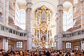 People visiting Frauenkirche, Dresden, Saxony, Germany
