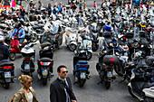 Motor scooters at Piazza Dante, Genoa, Liguria, Italia