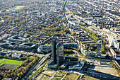 Aerial view of the Highlight Towers, Schwabing, Munich, Bavaria, Germany