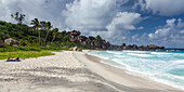 Grand Anse beach with strong currents on the East Coast, La Digue, Seychelles, Indian Ocean