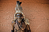 Old man with traditional outfit and headdress, Sambia, Africa