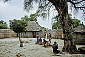 People in a traditional village of the Lozi tribe, Caprivi region, Namibia, Africa