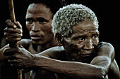 Old and young men from the San tribe, Otjozondjupa region, Namibia, Africa