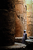 Temple guard in the Hypostyle hall of the Temple of Karnak, Luxor, Egypt, Africa