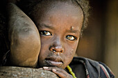 Young girl from the Konzo tribe, Konzo, South Ethiopia, Africa
