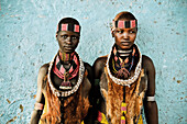 Two young woman from the Hamar tribe, Turmi, Omo valley, South Ethiopia, Africa