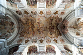 Interior view of the ceiling with fresco, Abbey church in Metten abbey, Metten, Bavarian Forest, Bavaria, Germany