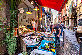 Market stall with fish, Naples, Bay of Naples, Campania, Italy