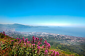 View from Vesuvius towards Naples, Bay of Naples, Campania, Italy