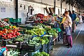 Market stall with vegetables, Mercado do Bolhao, Porto, Portugal