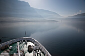Bow of cruise ship MS Deutschland on a foggy morning, Reederei Peter Deilmann, in Kotor Fjord, Kotor, Montenegro